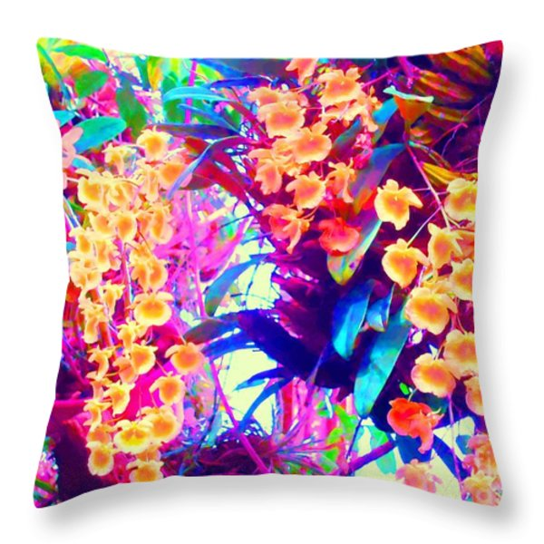 Orchid Splash Throw Pillow by Ann Johndro-Collins