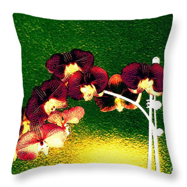 Orchids Throw Pillow by Annie Zeno