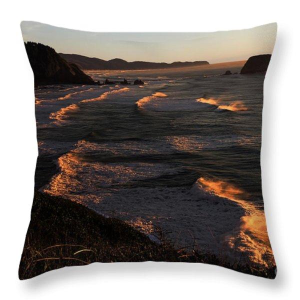 Oregon Coast At Sunset Throw Pillow by Jon Burch Photography