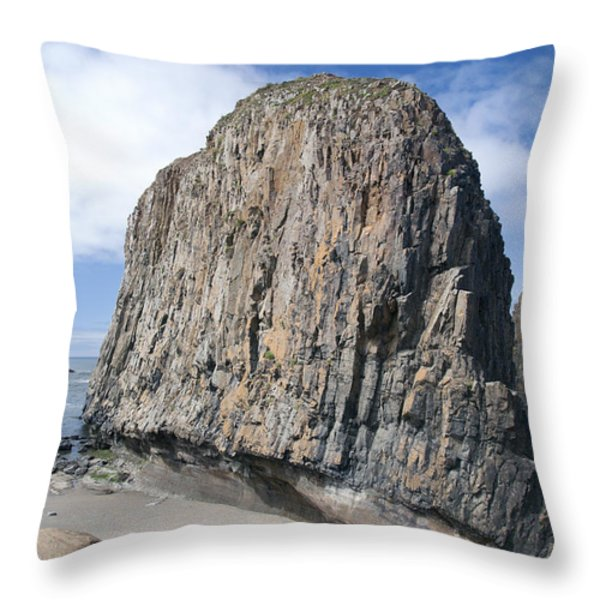 Oregon Coast Rock Formation Throw Pillow by Peter French