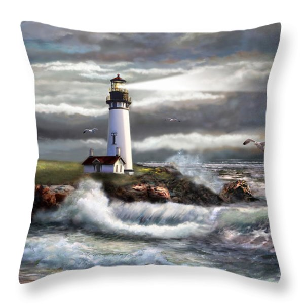 Oregon Lighthouse Beam of hope Throw Pillow by Gina Femrite