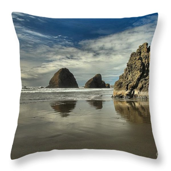 Oregon Sea Stack Reflections Throw Pillow by Adam Jewell