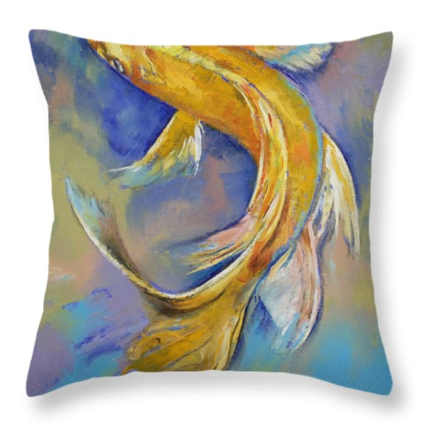 Orenji Butterfly Koi Throw Pillow by Michael Creese