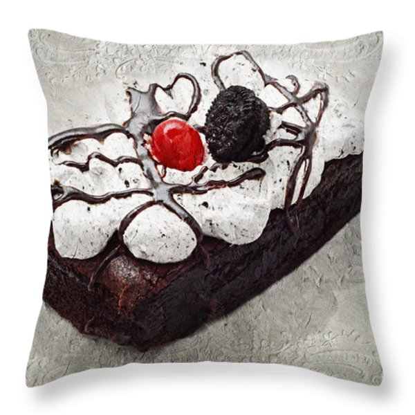 Oreo Cherry Brownie Cake Throw Pillow by Andee Design