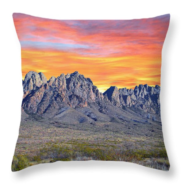 Organ Mountain Sunrise Throw Pillow by Jack Pumphrey