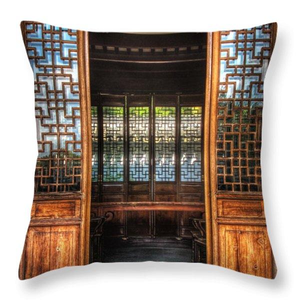 Orient - Door - The Temple Doors Throw Pillow by Mike Savad