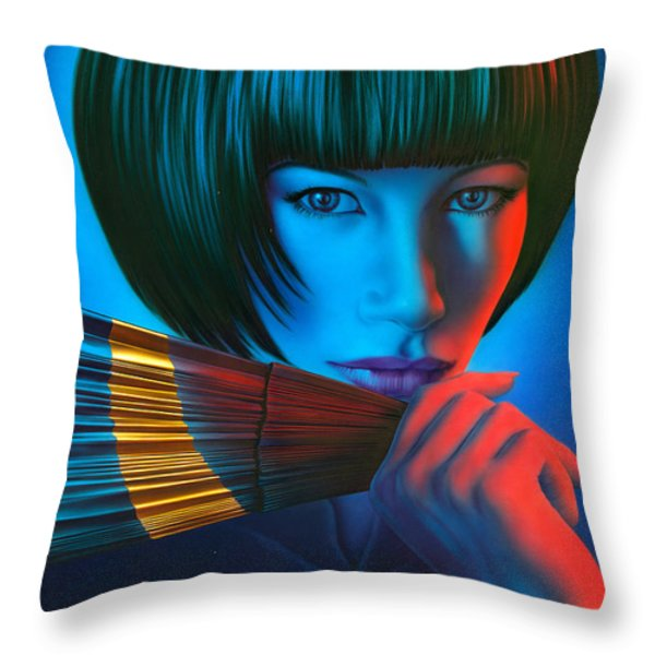 Oriental Gold Throw Pillow by Andrew Farley