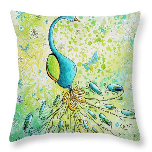 Original Acrylic Bird Floral Painting Peacock Glory By Megan Duncanson Throw Pillow by Megan Duncanson