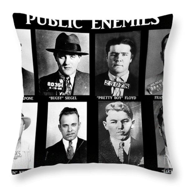 Original Gangsters - Public Enemies Throw Pillow by Paul Ward