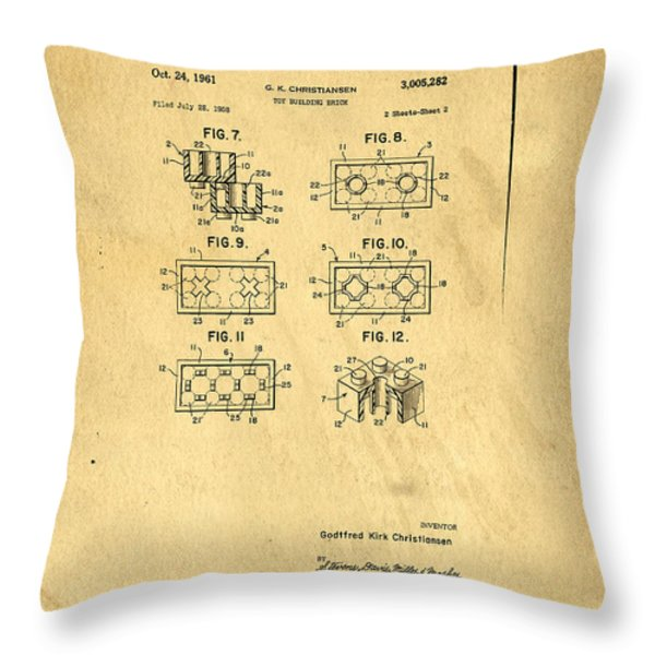 Original Patent for Lego Toy Building Brick Throw Pillow by Edward Fielding