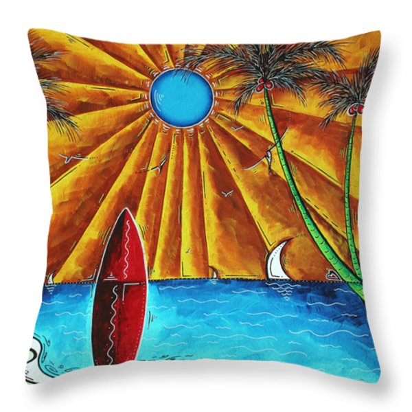 Original Tropical Surfing Whimsical Fun Painting WAITING FOR THE SURF by MADART Throw Pillow by Megan Duncanson