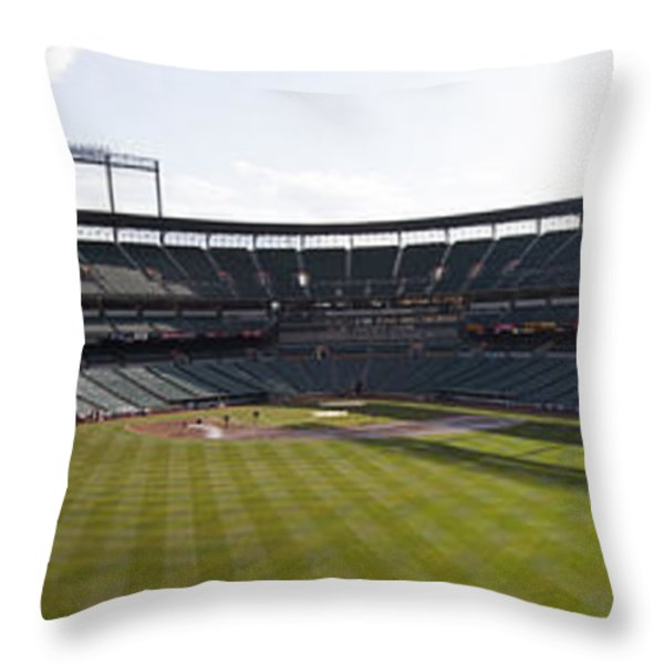 Oriole Park At Camden Yards Throw Pillow by Darleen Stry