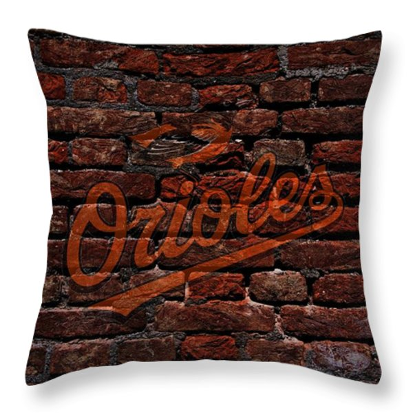 Orioles Baseball Graffiti on Brick  Throw Pillow by Movie Poster Prints
