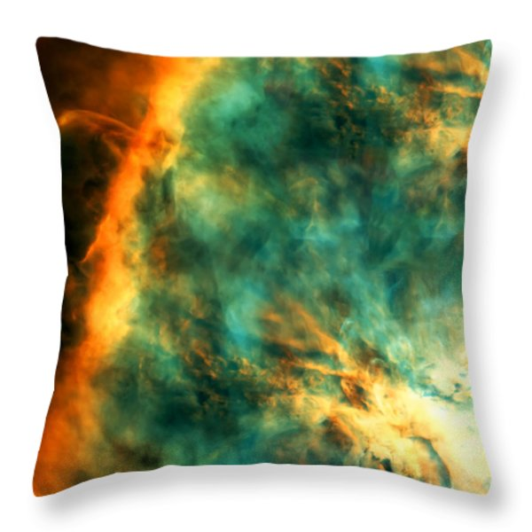Orion Nebula Fire Sky Throw Pillow by The  Vault - Jennifer Rondinelli Reilly