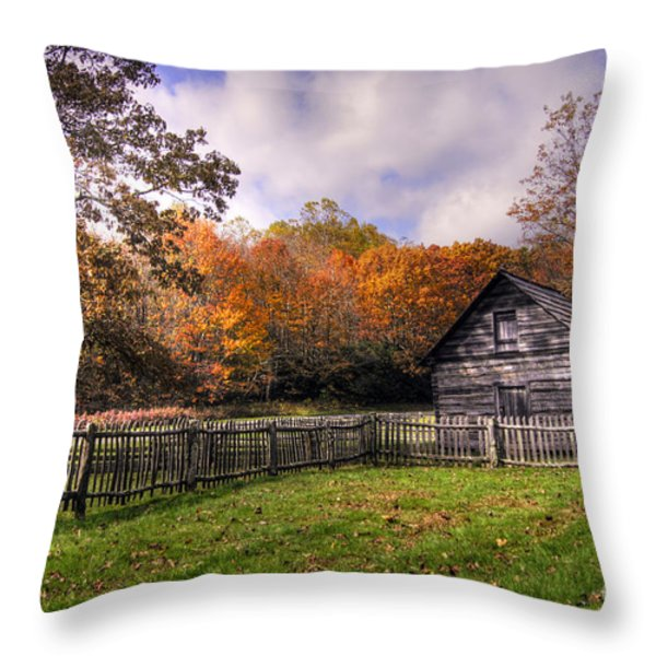 Orlean Puckett's Cabin Throw Pillow by Benanne Stiens
