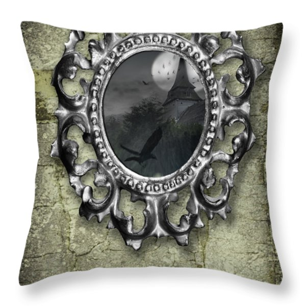 Ornate Metal Mirror Reflecting Church Throw Pillow by Amanda And Christopher Elwell