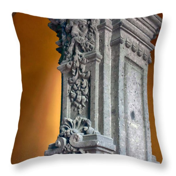 Ornate Mexican Stone Column Throw Pillow by Lynn Palmer