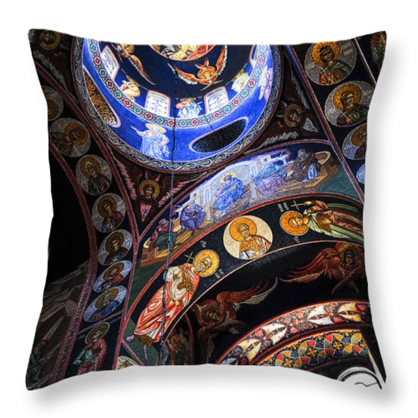 Orthodox church interior Throw Pillow by Elena Elisseeva
