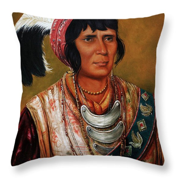 Osceola the Black Drink a Warrior of Great Distinction by John Travisano after George Catlin Throw Pillow by John Travisano