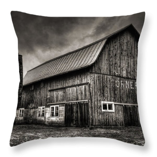 Oslo Corner in Black and White Throw Pillow by Thomas Young