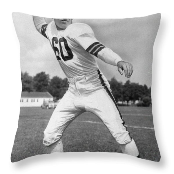 Otto Graham NFL Legend Poster Throw Pillow by Gianfranco Weiss