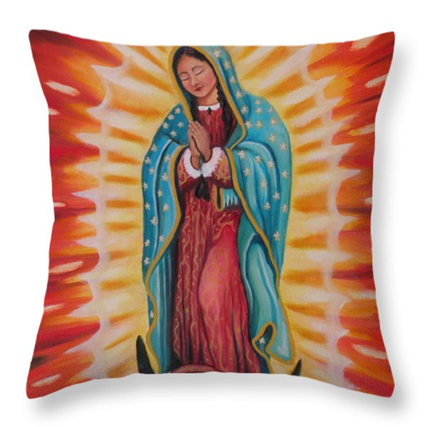 Our Lady Of Guadalupe Throw Pillow by Lora Duguay