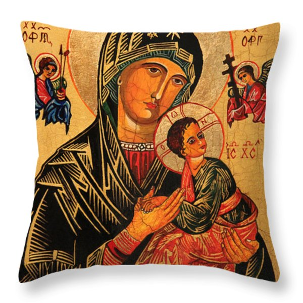 Our Lady of Perpetual Help Icon II Throw Pillow by Ryszard Sleczka