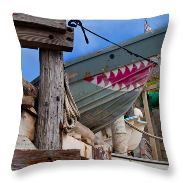 Out Of The Water - There's A Shark Throw Pillow by Bill Gallagher