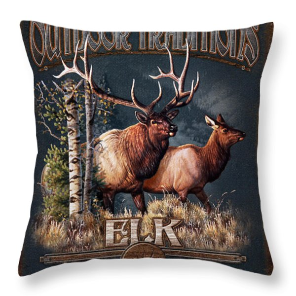 Outdoor Traditions Elk Throw Pillow by JQ Licensing