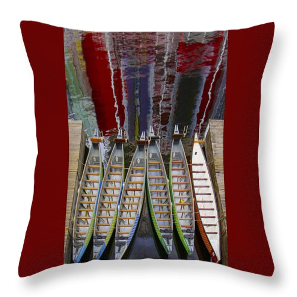 Outrigger Canoe Boats And Water Reflection Throw Pillow by Ben and Raisa Gertsberg