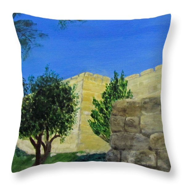 Outside The Wall - Jerusalem Throw Pillow by Linda Feinberg