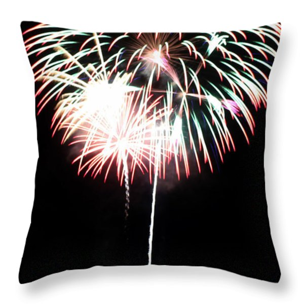 4th of July Fireworks 4 Throw Pillow by Howard Tenke