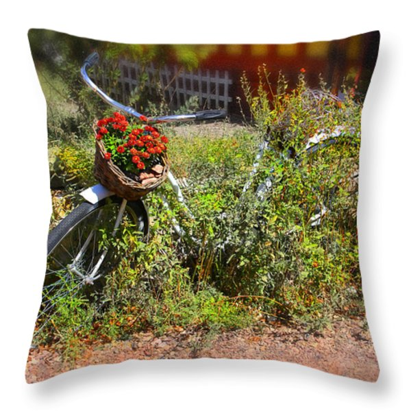 Overgrown Bicycle With Flowers Throw Pillow by Mike McGlothlen