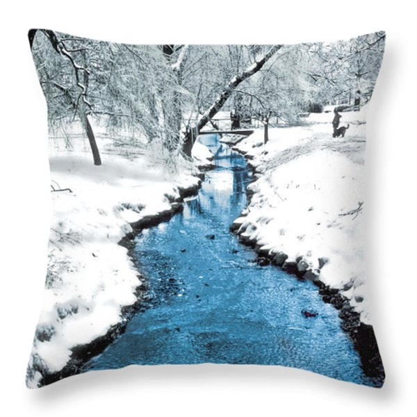 Overnight Snow In Edgemont Park Throw Pillow by Kellice Swaggerty