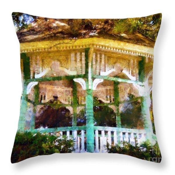 Owego Gazebo Courthouse Square Park Throw Pillow by Janine Riley