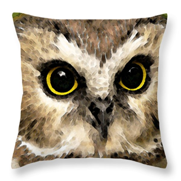 Owl Art - Night Vision Throw Pillow by Sharon Cummings