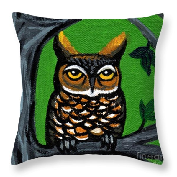 Owl In Tree With Green Background Throw Pillow by Genevieve Esson