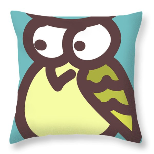 owl Throw Pillow by Nursery Art