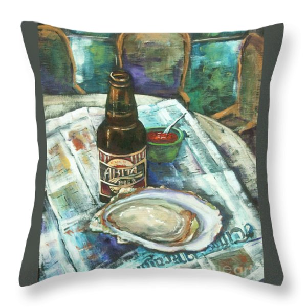 Oyster and Amber Throw Pillow by Dianne Parks