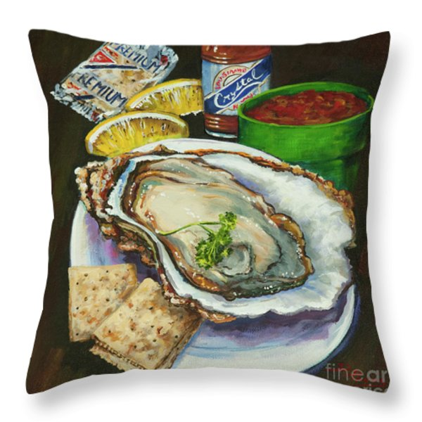 Oyster And Crystal Throw Pillow by Dianne Parks