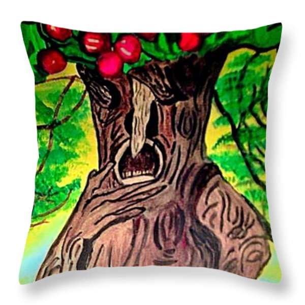 Oz Grumpy Apple Tree Throw Pillow by Jo-Ann Hayden