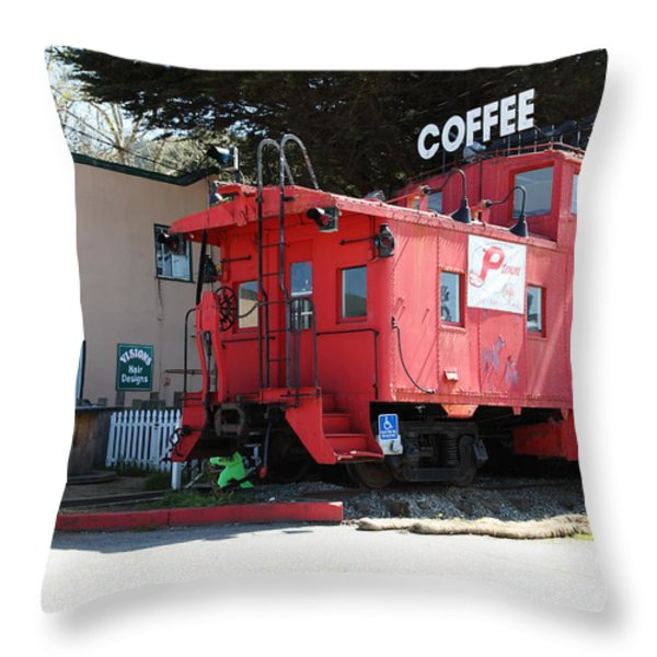 P Town Cafe Caboose Pacifica California 5D22659 Throw Pillow by Wingsdomain Art and Photography