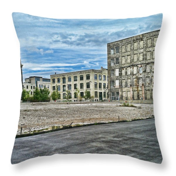 Pabst Brewery Abandonded Seen Better Days Pabst In Milwaukee Blue Ribbon Beer Throw Pillow by Lawrence Christopher