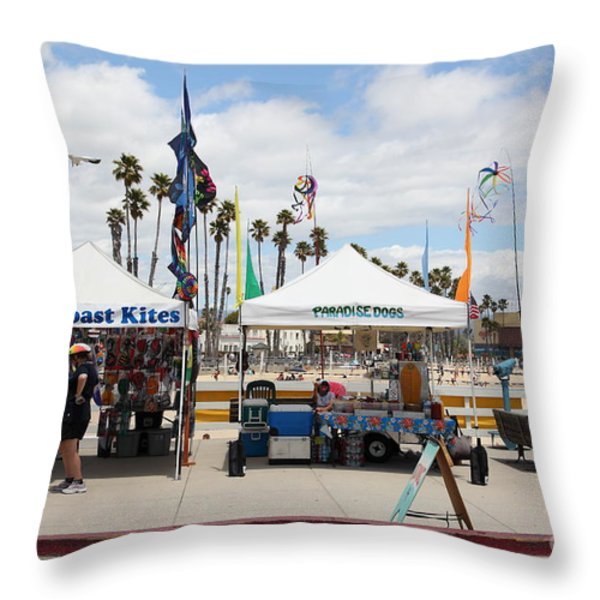 Pacific Coast Kites And Paradise Dogs On The Municipal Wharf At The Santa Cruz Beach Boardwalk Calif Throw Pillow by Wingsdomain Art and Photography