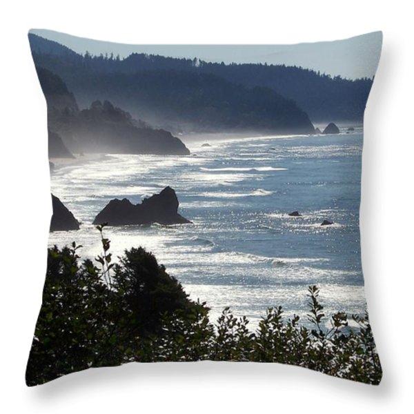 Pacific Mist Throw Pillow by Karen Wiles