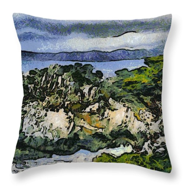 Pacific Ocean Abstract Seascape Throw Pillow by Barbara Snyder