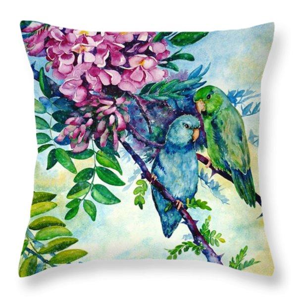 Pacific Parrotlets Throw Pillow by Zaira Dzhaubaeva