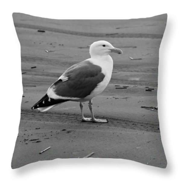 Pacific Seagull In Black And White Throw Pillow by Jeanette C Landstrom