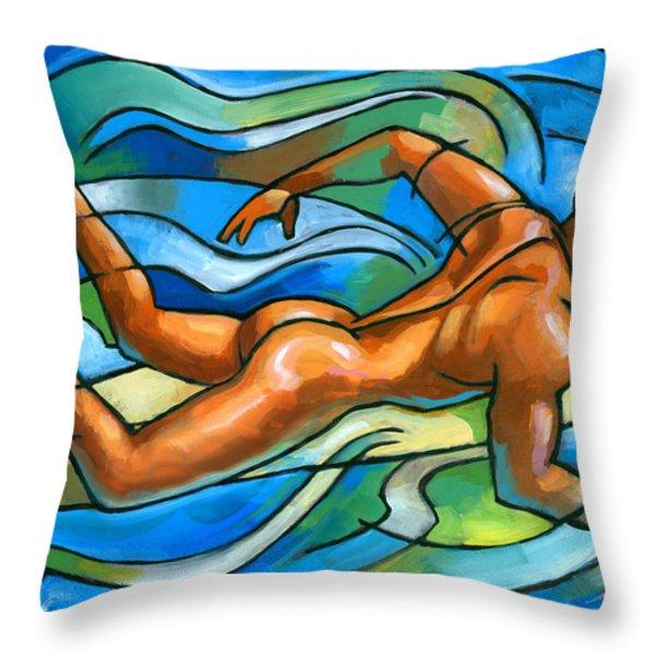 Paddling Throw Pillow by Douglas Simonson
