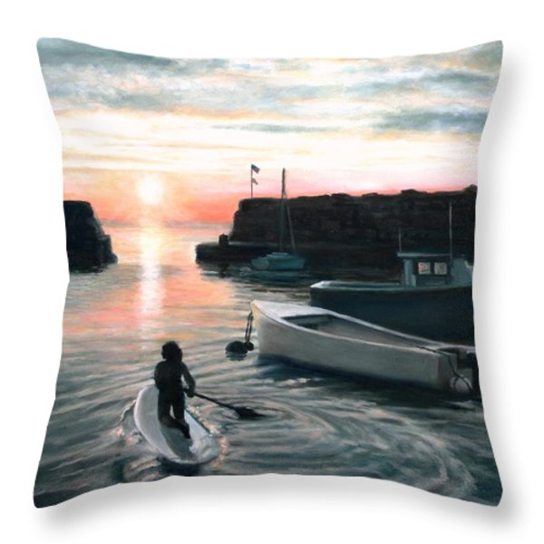 Paddling Throw Pillow by Eileen Patten Oliver